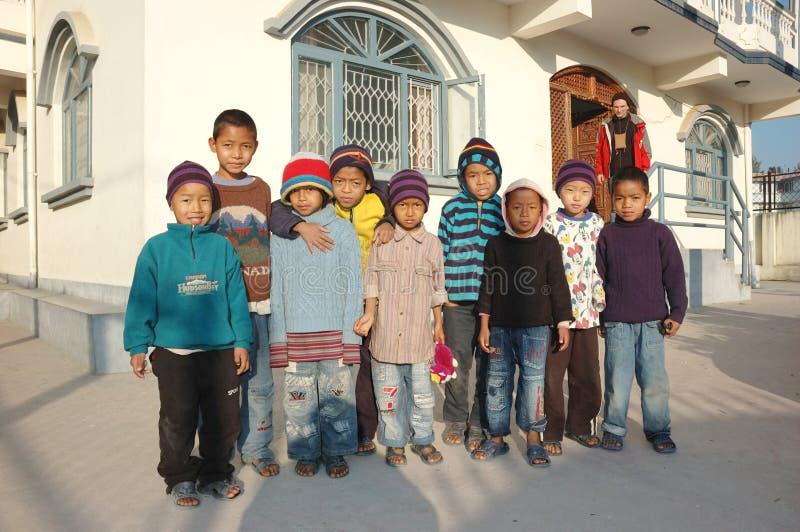 加德满都尼泊尔孤儿院 图库摄影