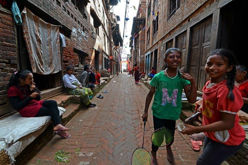加德满都郊区街道,尼泊尔 免版税库存图片