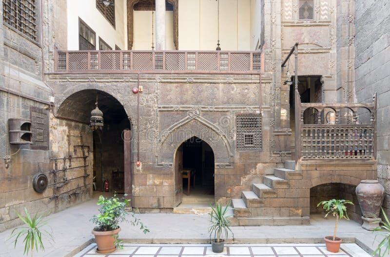 更加快乐的安徒生议院, 17世纪房子,开罗庭院, 库存照片