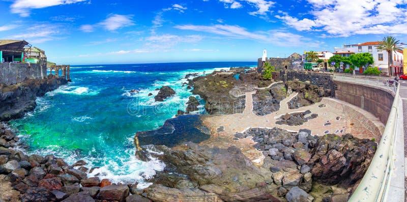 加拉奇科,特内里费岛,加那利群岛,西班牙:卡斯蒂略de圣米格尔火山是加拉奇科镇的堤防的一个堡垒 免版税库存图片