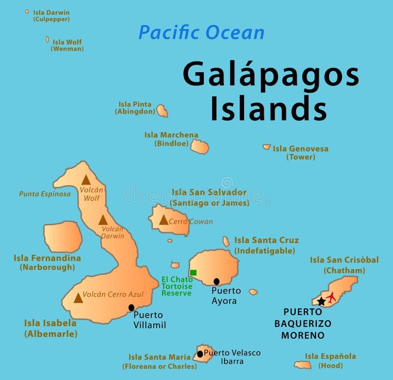 加拉帕戈斯群岛地图 库存例证