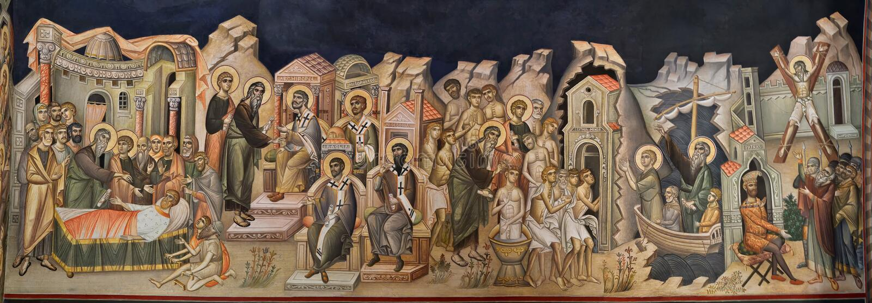 加拉济,罗马尼亚- 2018年6月20日:一幅老基督徒正统壁画的片段 免版税库存照片