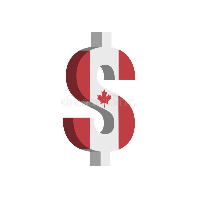 加拿大元CAD与旗子的货币符号-传染媒介 向量例证