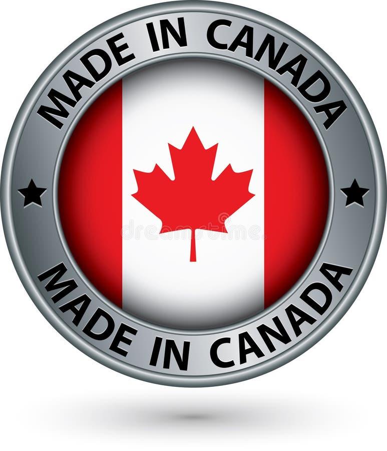 加拿大制造与旗子,传染媒介例证的银色标签 库存例证