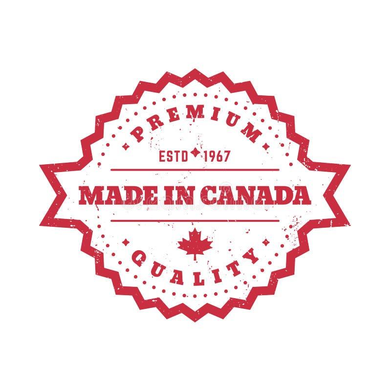 加拿大制造,传染媒介徽章,圆的标签 皇族释放例证