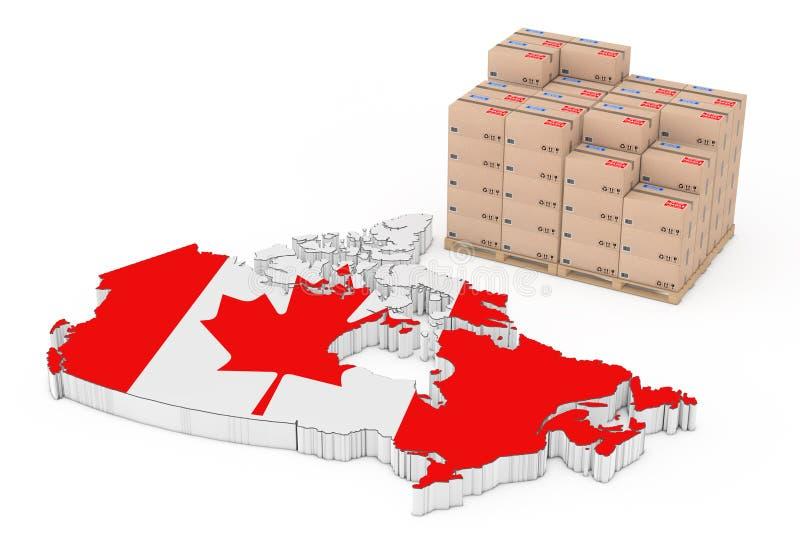 加拿大后勤学概念 在一个木调色板n的纸板箱 库存例证
