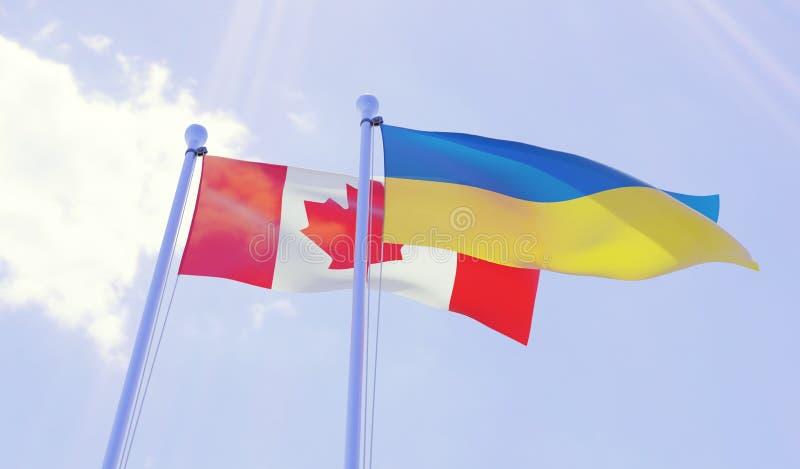 加拿大和乌克兰,挥动反对蓝天的旗子 皇族释放例证