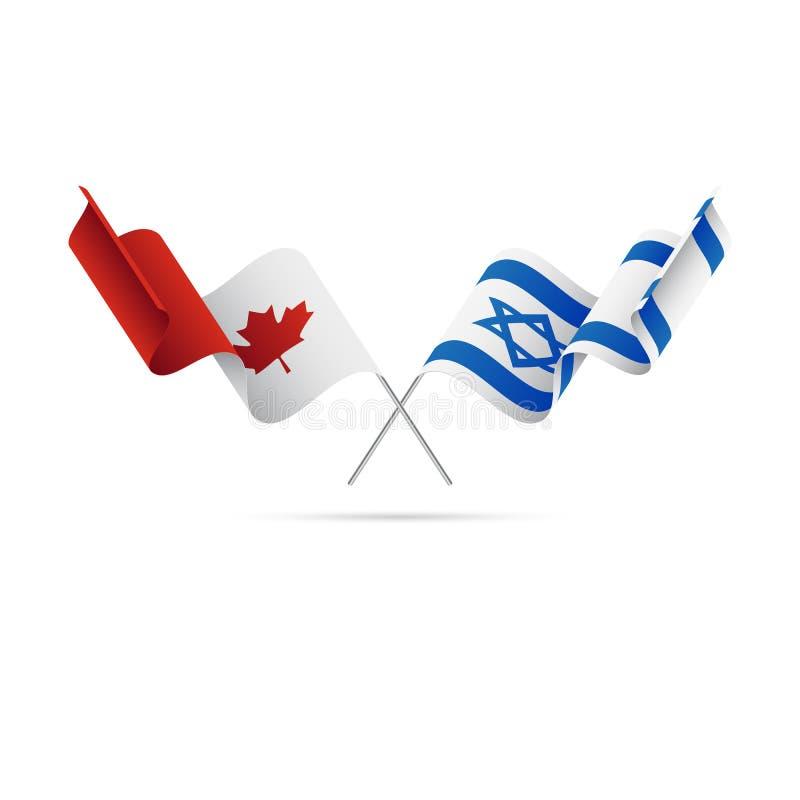 加拿大和以色列旗子 克服的标志 也corel凹道例证向量 皇族释放例证