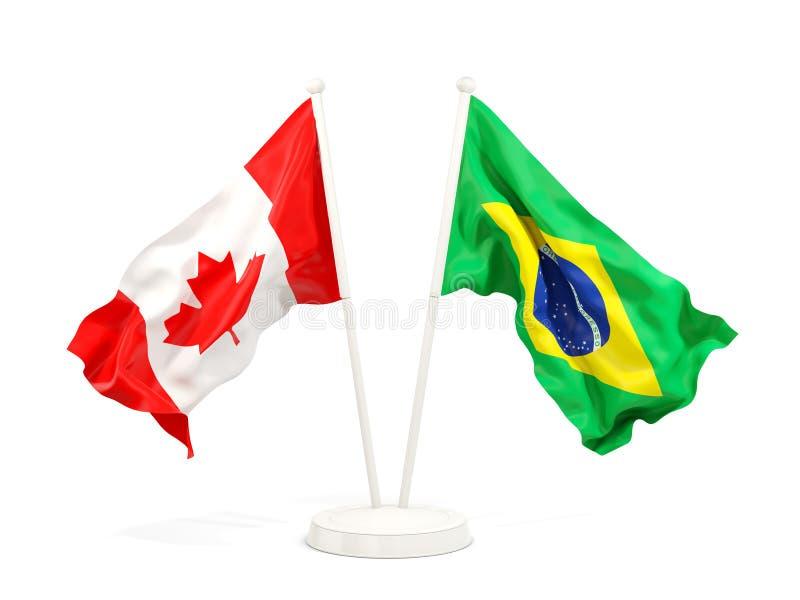 加拿大和巴西的两面挥动的旗子 向量例证