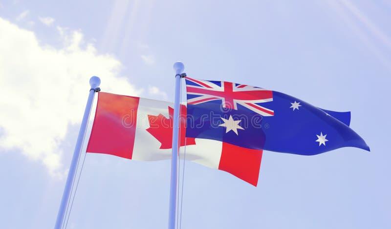 加拿大和澳大利亚,挥动反对蓝天的旗子 库存例证