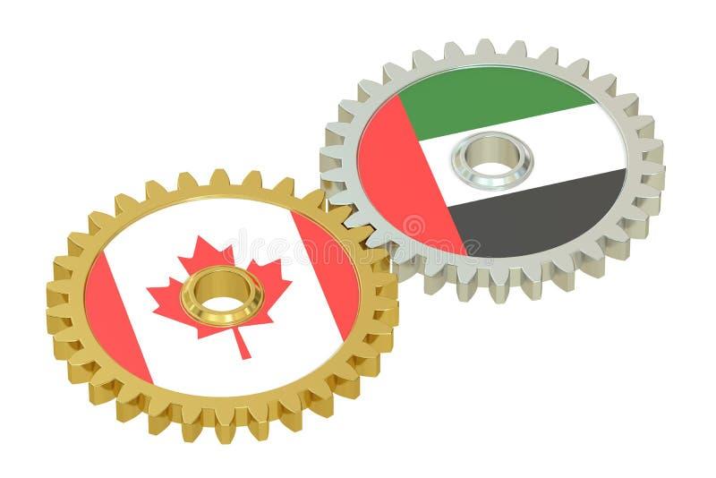 加拿大和阿拉伯联合酋长国联系概念,在的旗子齿轮 3d翻译 向量例证