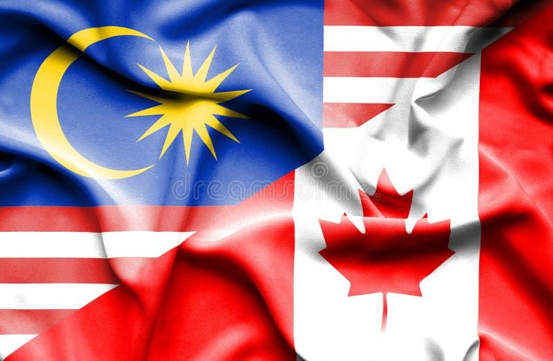 加拿大和马来西亚的挥动的旗子 库存例证