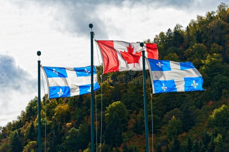 加拿大和魁北克标志 库存照片