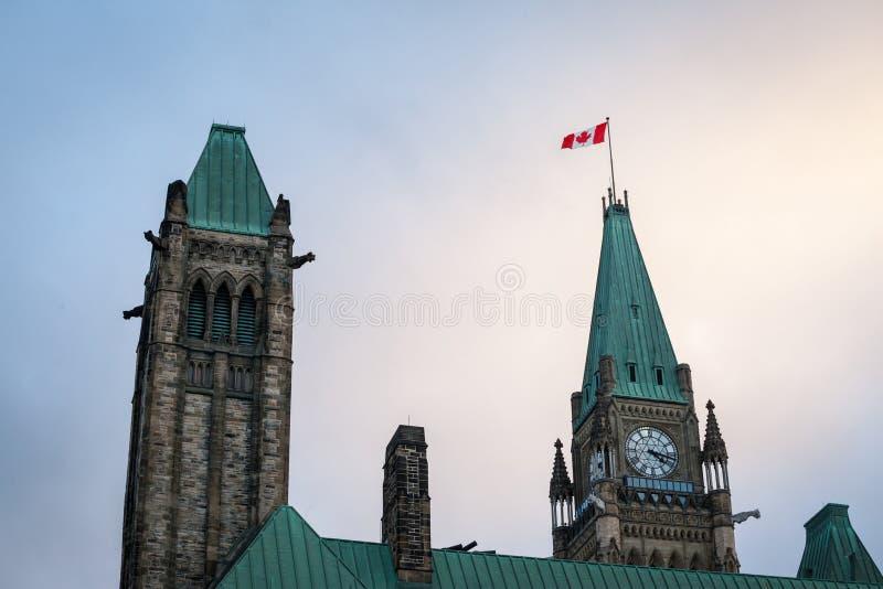 加拿大国会的中心块的主要塔,在渥太华加拿大议会复合体,安大略 免版税库存照片
