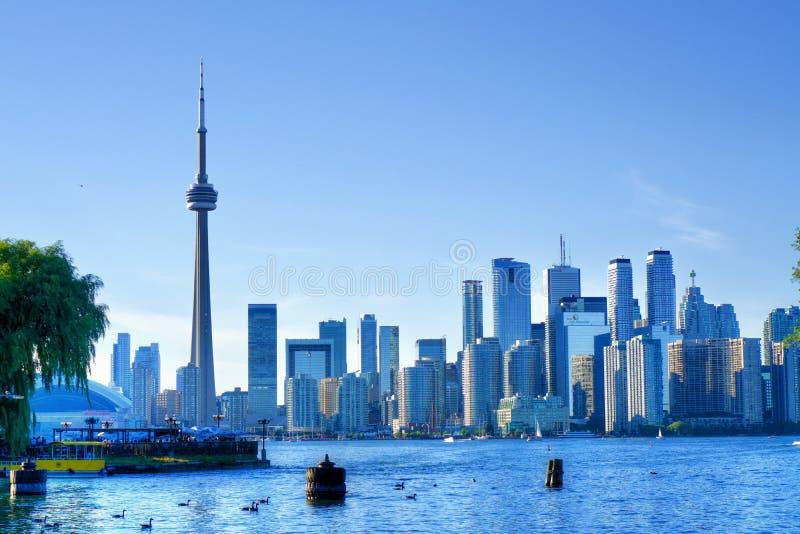 加拿大国家电视塔和街市多伦多,从Ontario湖看见的加拿大 免版税库存照片
