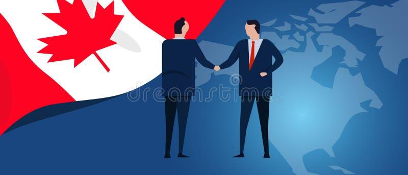 加拿大国际性组织合作 外交交涉 营业关系协议握手 国旗和地图 库存例证