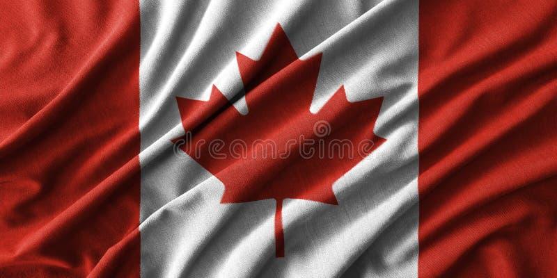 加拿大在波浪棉织物高细节的旗子绘画  皇族释放例证
