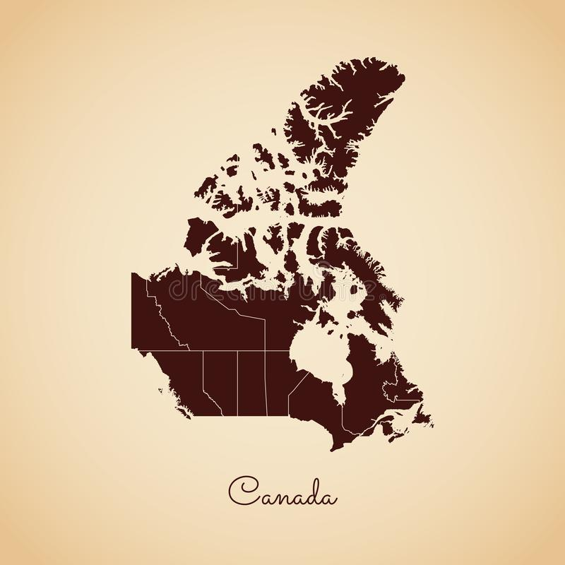 加拿大地区地图:减速火箭的样式褐色概述 皇族释放例证