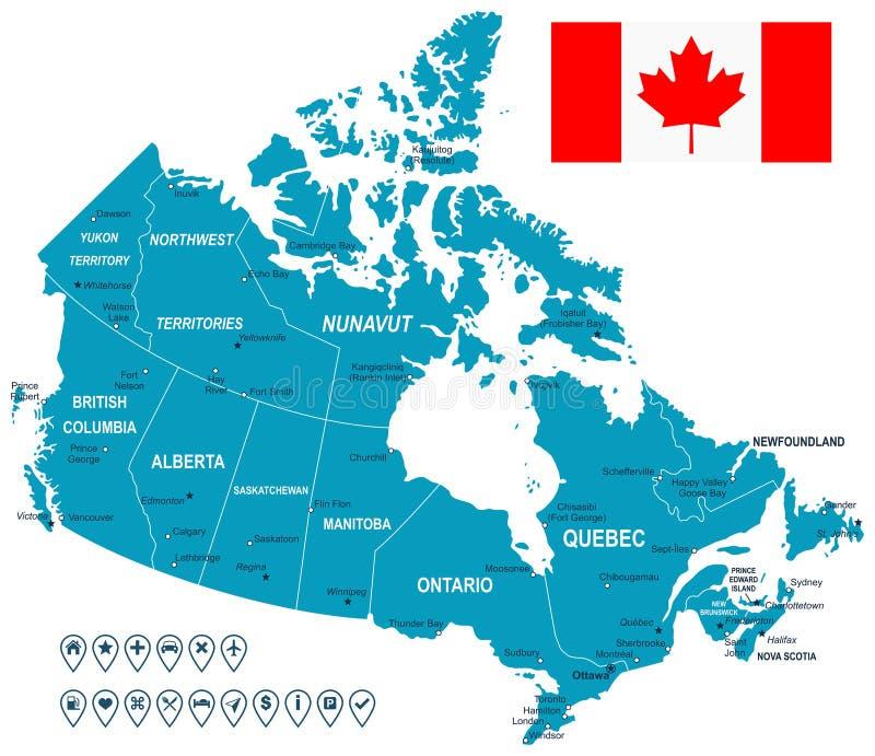 加拿大地图、旗子和航海标签-例证 库存例证