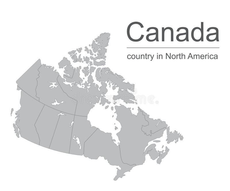加拿大地图传染媒介与省或国家边界的概述例证在白色背景 库存例证