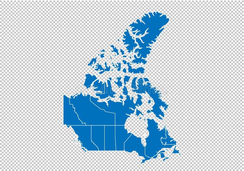 加拿大地图-上流详细的蓝色地图以县/加拿大的地区/状态 在透明背景隔绝的canadal地图 向量例证