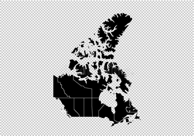 加拿大地图-上流详细的黑地图以县/加拿大的地区/状态 在透明背景隔绝的阿富汗地图 库存例证