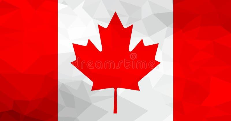 加拿大多角形旗子 马赛克现代背景 设计几何 向量例证
