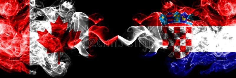 加拿大对克罗地亚,肩并肩被安置的克罗地亚发烟性神秘的旗子 加拿大人和克罗地亚的厚实的色的柔滑的烟旗子, 库存例证