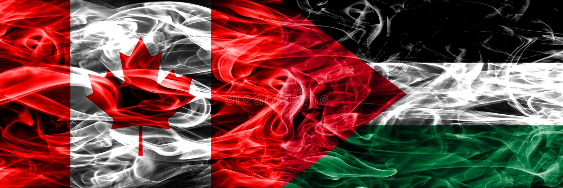 加拿大对巴勒斯坦肩并肩被安置的烟旗子 的加拿大人 向量例证