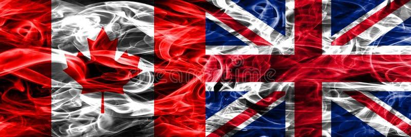 加拿大对英国肩并肩被安置的烟旗子 Canadi 库存例证
