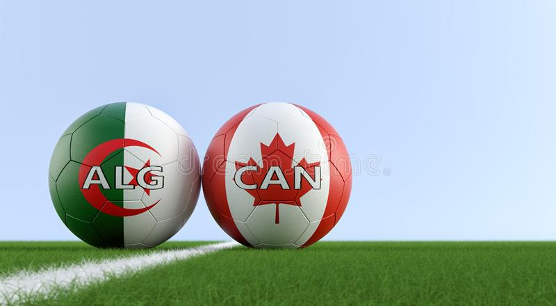 加拿大对 阿尔及利亚足球比赛-在阿尔及利亚和加拿大全国颜色的足球在足球场 向量例证