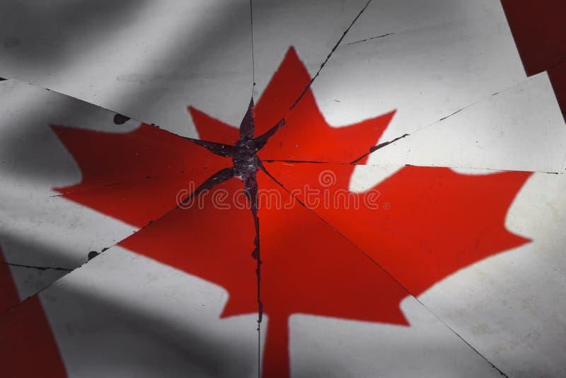 加拿大旗子在残破的镜子被反射 免版税图库摄影