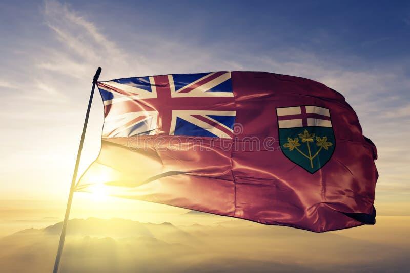 加拿大旗子纺织品挥动在顶面日出薄雾雾的布料织品安大略省  库存例证