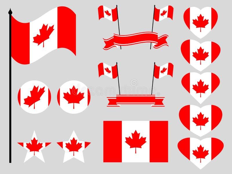 加拿大旗子集合 标志的汇集,旗子在心脏 按钮和星 向量 皇族释放例证