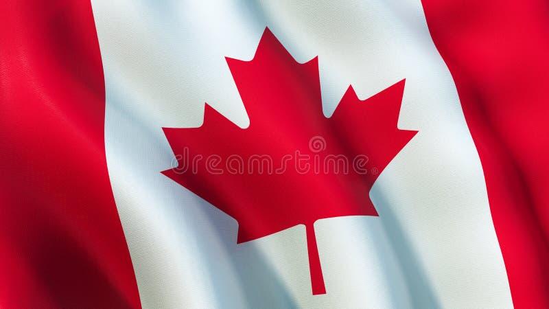 加拿大旗子,挥动在风 向量例证