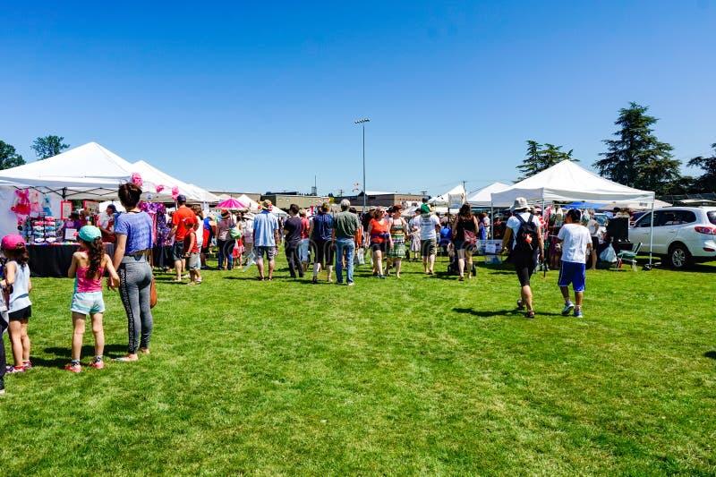 加拿大日市场在Courtenay,不列颠哥伦比亚省加拿大 库存图片