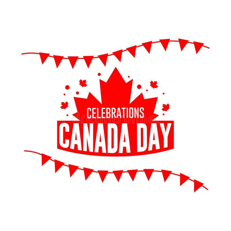 加拿大日庆祝商标传染媒介模板设计例证 库存例证