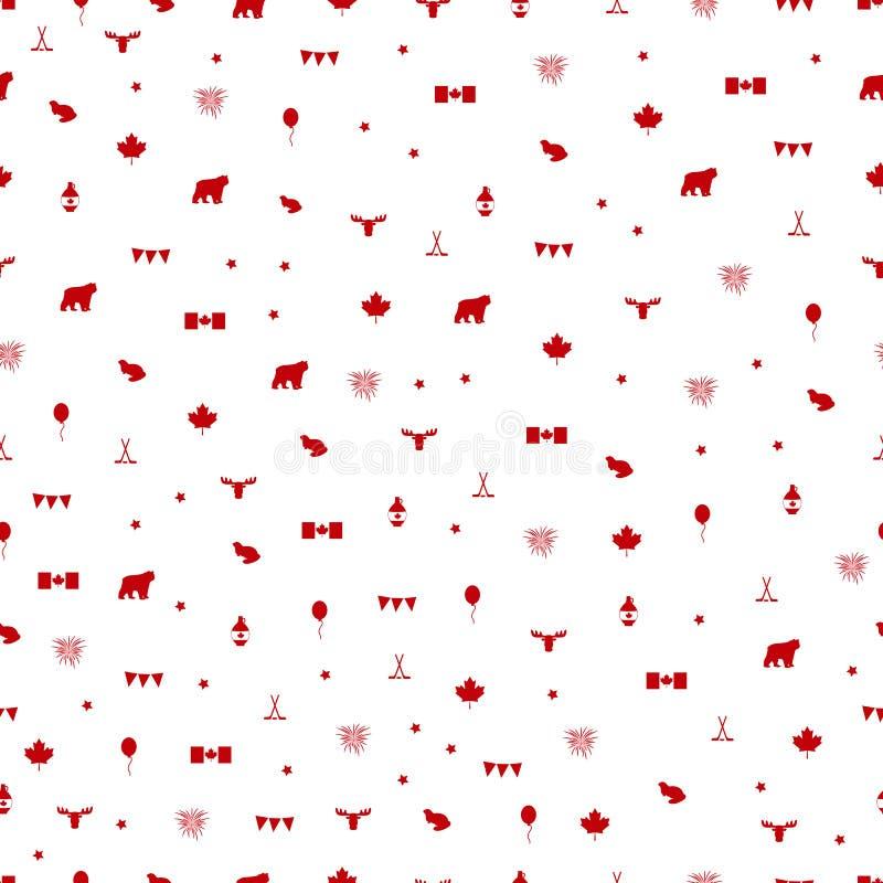 加拿大日标志无缝的样式 也corel凹道例证向量 向量例证