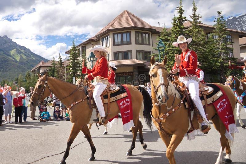 加拿大日游行在班夫 库存照片