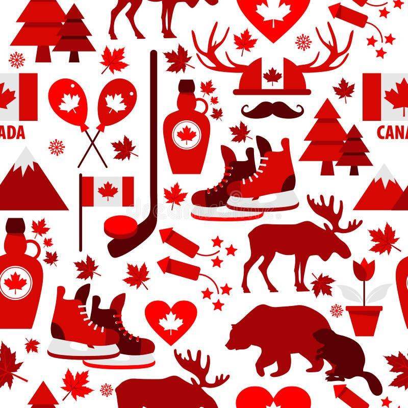 加拿大标志和标志,信息图表元素平的象在无缝的样式设置了 向量例证