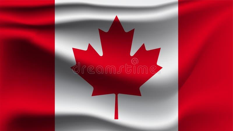 加拿大沙文主义情绪与风3D例证波浪旗子 向量例证