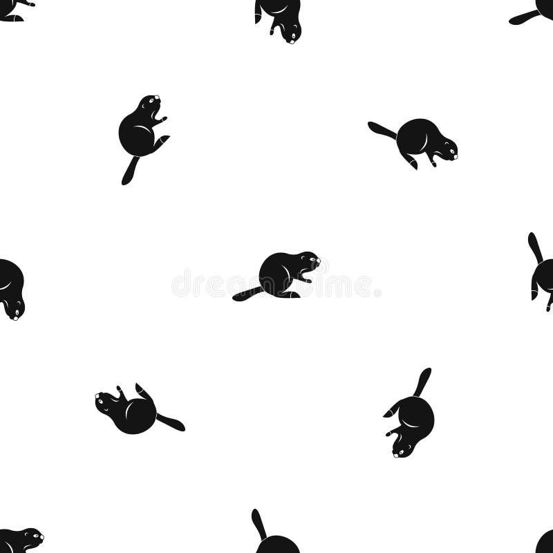 加拿大海狸样式无缝的黑色 皇族释放例证