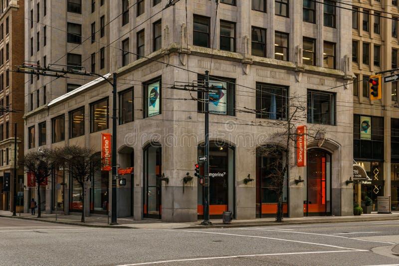 加拿大温哥华 — 2020年2月2日:周日上午在市中心的街道交叉处 免版税库存图片