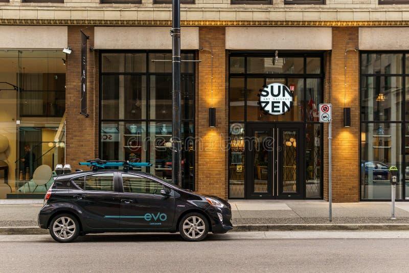 加拿大温哥华 — 2020年2月2日:evo在市中心的汽车共享 免版税图库摄影