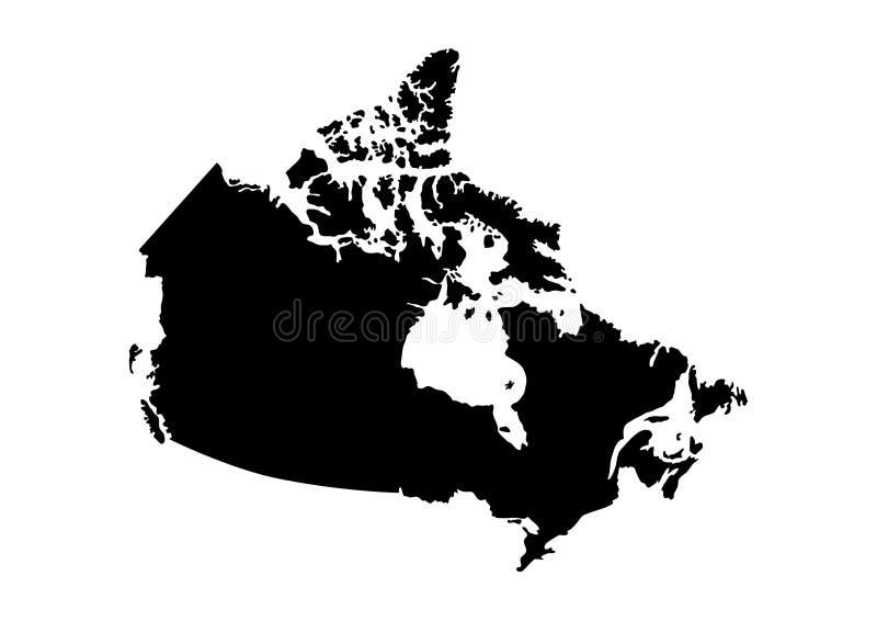 加拿大状态地图传染媒介剪影 库存例证