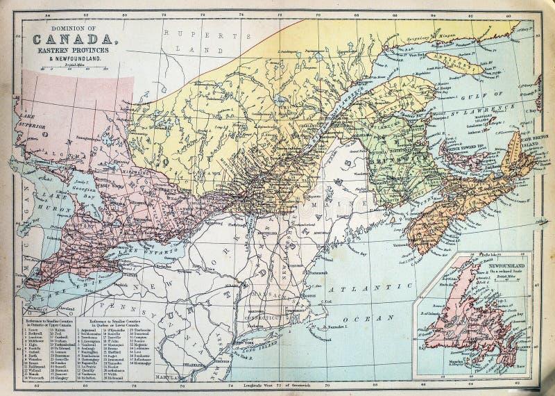 加拿大的古色古香的地图 库存图片