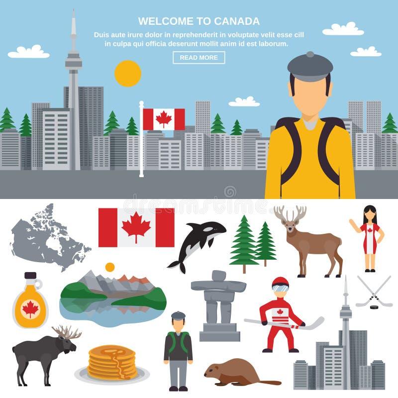 加拿大的平的象套 皇族释放例证