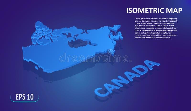 加拿大的等量地图 国家的现代平的地图蓝色背景的 被隔绝的3D等量概念为 库存例证