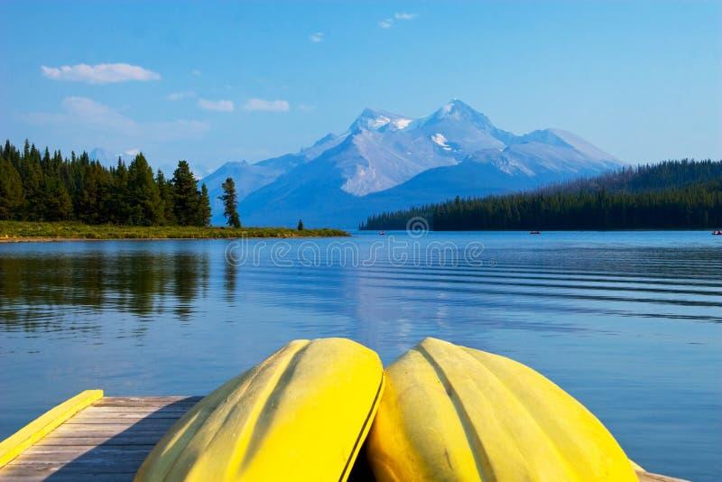 加拿大碧玉湖maligne国家公园 库存照片