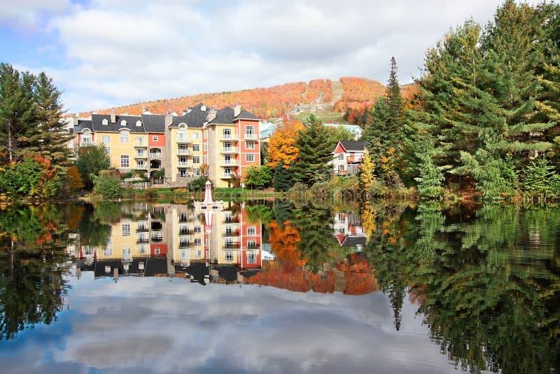 加拿大秋天mont tremblant魁北克的季节 库存图片